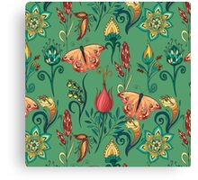Floral green pattern with butterflies Canvas Print