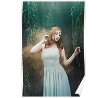 Beautiful girl red hair fantasy elven girl Poster