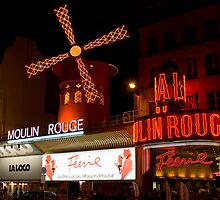 Moulin Rouge at night by Russell Bruce