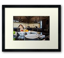 served dinner table Framed Print