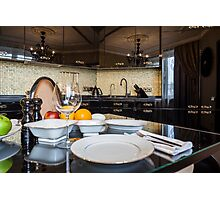 served dinner table Photographic Print