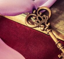 Still Life With Ornamented Key And Violet Ribbon Sticker