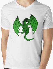 Green Clinging Dragon Mens V-Neck T-Shirt