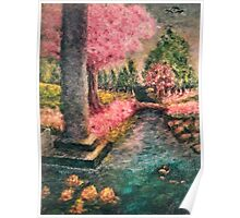 Cherry Tree and Tranquil Waters Poster