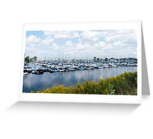 Docked boats in the harbour Greeting Card