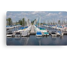 Docked boats in the harbour Canvas Print