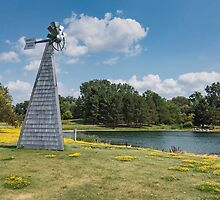 Windmill in a park by Josef Pittner