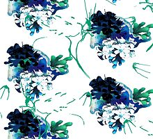 White & Blue Flowers by NahlaBear