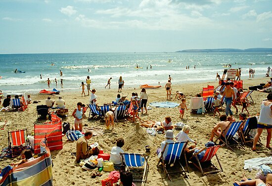 A busy Bournemouth beach, England, 1980s by David A. L. Davies