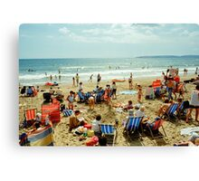 A busy Bournemouth beach, England, 1980s Canvas Print
