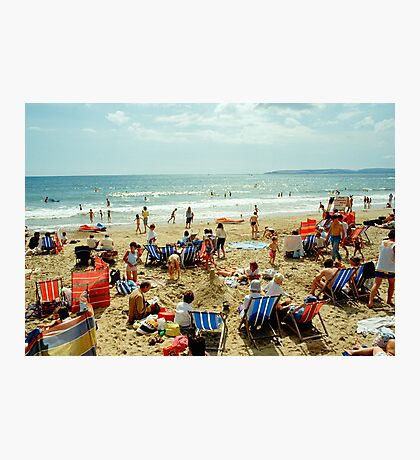 A busy Bournemouth beach, England, 1980s Photographic Print