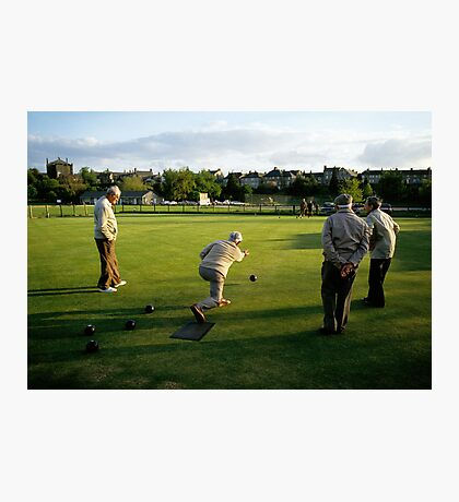 Men enjoying a game of bowls, England, 1980s. Photographic Print