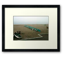 Brighton beach on a cold day in May, UK, 1980s. Framed Print