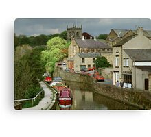 The Canal basin in Skipton. N. Yorkshire, England, UK, 1980s. Canvas Print