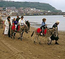 Donkey ride on Scarborough beach, England, UK, 1980s by David A. L. Davies
