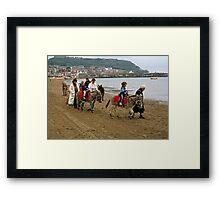 Donkey ride on Scarborough beach, England, UK, 1980s Framed Print