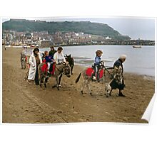 Donkey ride on Scarborough beach, England, UK, 1980s Poster