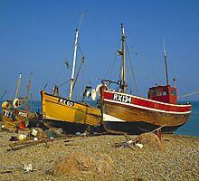 Fishing boats on Hastings beach East Sussex, UK by David A. L. Davies