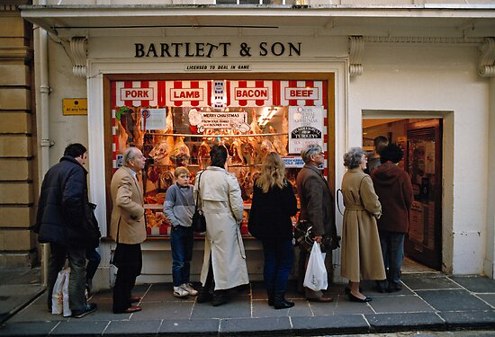 Queuing at a Butchers shop, England, UK, 1980s by David A. L. Davies