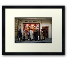 Queuing at a Butchers shop, England, UK, 1980s Framed Print