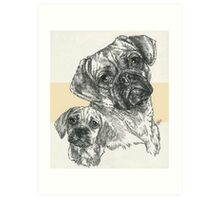 Puggle Father & Son Art Print