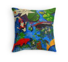Miami Koi Collage Throw Pillow