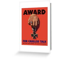 Award For Careless Talk -- WWII Greeting Card