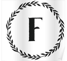 Monogram Wreath - F Poster