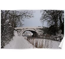 Grand Western Canal, Battens Bridge in the snow Poster