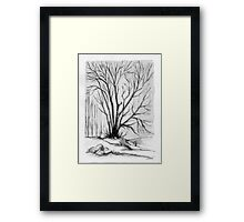 FALL TREE - AQUAREL AND ECOLINE Framed Print