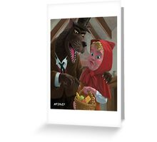 little red riding hood with nasty wolf Greeting Card