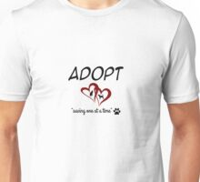Adopt Saving On At A Time (red) Unisex T-Shirt