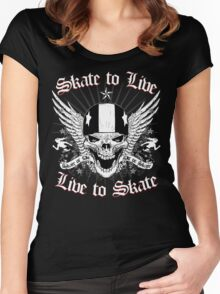 LIVE TO SKATE Women's Fitted Scoop T-Shirt