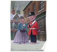 romantic victorian pigs in snowy street Poster