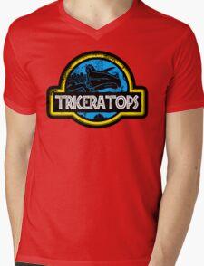 Jurassic Power Blue Mens V-Neck T-Shirt