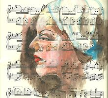 acrylic on sheet music by Annabel