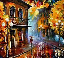 FALL RAIN - Original Art Oil Painting By Leonid Afremov by Leonid  Afremov