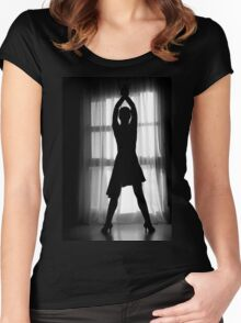 Latin woman dancing silhouette Women's Fitted Scoop T-Shirt