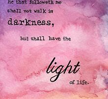 John 8:12 Light of Life watercolor painting by livielightyear