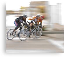 Cyclists Speeding into the Next Curve Canvas Print