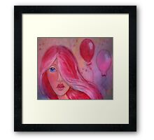 Whimsy Girl with Red Hair Framed Print