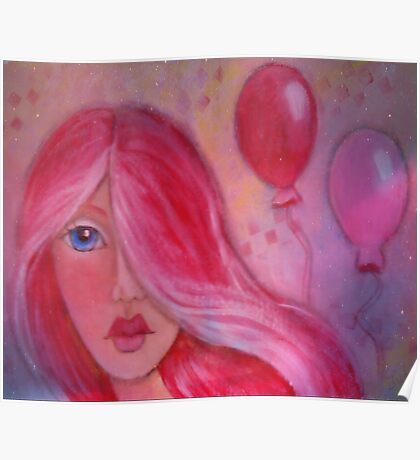 Whimsy Girl with Red Hair Poster