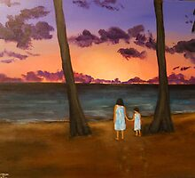 Two Girls at Sunset on Oahu by Jsimone