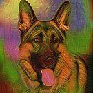 Colorful German Shepherd by Sandy Keeton