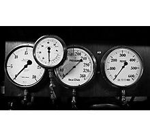 Out of steam - gauges from the steamer Stord Photographic Print