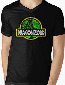 Jurassic Power Green Mens V-Neck T-Shirt