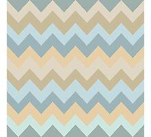 Blue Cream Chevron Stripes Photographic Print