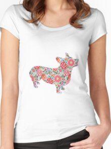 Corgi Preppy Print Women's Fitted Scoop T-Shirt