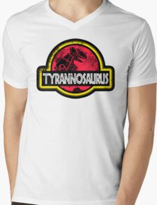 Jurassic Power Red Mens V-Neck T-Shirt