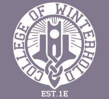 College of Winterhold Est. 1E (white) Kids Tee